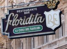Leuchtreklame von Restaurant und von Bar Floridita Stockbild