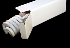 Leuchtstoff Glühlampe in einem Kasten stockbild
