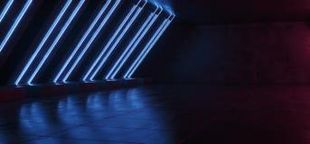 Leuchtstoff Sci FI-glühendes vibrierendes blaues Laser-Neonrohr formte Licht-elegantes modernes in reflektierender konkreter Schm stock abbildung