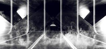 Leuchtstoff vibrierende Zusammenfassung Rauch-Nebel Sci FI formte glühende blaue weiße Neonlichter im enormer dunkler Zement-konk vektor abbildung
