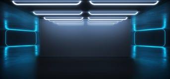 Leuchtstoff vibrierender futuristischer Cyber-Tunnel-konkreter Schmutz-Boden-Neonraum Hall Studio virtueller Realität Sci FI glüh stock abbildung