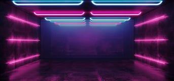 Leuchtstoff vibrierender futuristischer Cyber-Tunnel-konkreter Schmutz-Boden-Neonraum Hall Studio virtueller Realit?t Sci FI gl?h stock abbildung