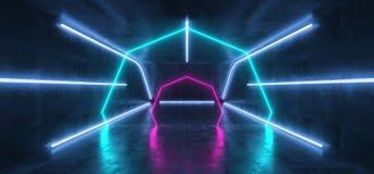Leuchtstoff vibrierender futuristischer Cyber-Tunnel-konkreter Schmutz-Boden-Neonraum Hall Studio virtueller Realit?t Sci FI gl?h lizenzfreie abbildung
