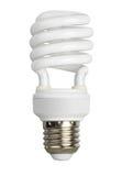 Leuchtstoffbirne lokalisiert auf Weiß stockbilder