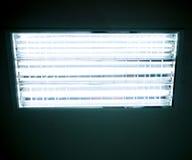 Leuchtstofflampe, die auf der Dunkelheit glüht Stockfotografie