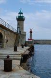 Leuchttürme in Bastia-Hafen Lizenzfreie Stockfotos
