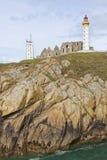 Leuchtturm-, Abtei- und Semaphorturm von Heilig-Mathieu, Bretagne Stockfotografie