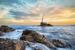 Leuchtturm in Ahtopol, Bulgarien Stockfoto