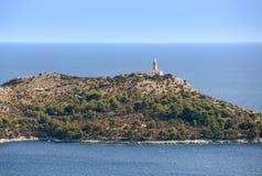 Leuchtturm auf adriatischer Insel von Lastovo, Kroatien Stockfotografie