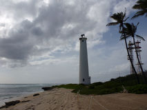 Leuchtturm auf dem Strand Stockbild