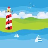 Leuchtturm auf einem Strand Stockfotografie