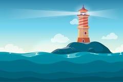 Leuchtturm auf Felsen entsteint Inselkarikatur-Vektorhintergrund Lizenzfreie Stockbilder