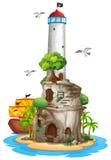 Leuchtturm auf Insel Stockbild