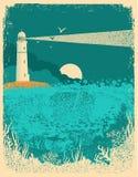 Leuchtturm auf Sonnenuntergang mit Meereswellen Unterwasserseehintergrund an stock abbildung