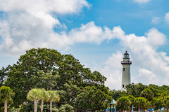 Leuchtturm auf St Simon Insel Stockbild