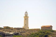 Leuchtturm auf Strand in Paphos, Republik Zypern Stockfotos