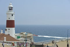 Leuchtturm bei Punta de Europa in Gibraltar Stockbild