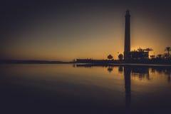 Leuchtturm bei Sonnenuntergang stockfoto