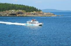 Leuchtturm bereist Boot im Acadia-Nationalpark Lizenzfreie Stockfotos