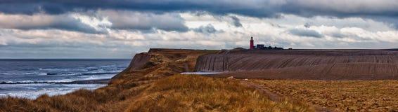 Leuchtturm am Bovbjerg Strand, DK stockbild