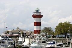 Leuchtturm an der Hafen-Stadt Stockfotos
