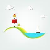 Leuchtturm durch das Meer Lizenzfreie Stockfotografie