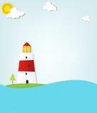 Leuchtturm durch das Meer Lizenzfreies Stockbild