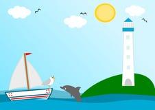 Leuchtturm in einer schönen sonniger Tageslustigen Karikaturillustration Stockbild