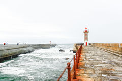 Leuchtturm in Foz von Duero, Porto, Portugal Stockbild
