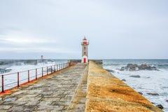 Leuchtturm in Foz von Duero, Porto, Portugal Lizenzfreies Stockbild