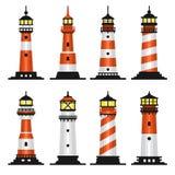 Leuchtturm-gesetzte flache Art auf weißem Hintergrund Vektor Lizenzfreies Stockfoto