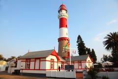 Leuchtturm-Grenzstein, Swakopmund, Namibia lizenzfreie stockbilder