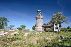 Leuchtturm Hammeren Fyr auf Bornholm Stockfotografie