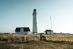 Leuchtturm Hirtshals Fyr in Dänemark-Nordlandschaft im Sonnenuntergang Stockbilder