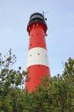 Leuchtturm in Hoernum auf der Insel von Sylt im Winter lizenzfreie stockfotos