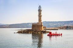 Leuchtturm im alten Hafen von Chania auf Kreta Stockfoto