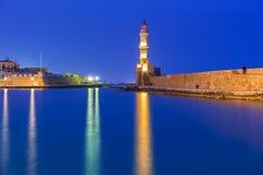 Leuchtturm im alten Hafen von Chania auf Kreta Lizenzfreies Stockbild