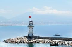 Leuchtturm im Hafen Alanya, die Türkei Stockbild