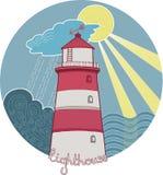Leuchtturm im Meer im sonnigen und stürmischen Wetter Stockfotografie