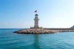 Leuchtturm im Mittelmeer von der Türkei Stockfotografie