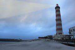 Leuchtturm im Praia Barra Lizenzfreie Stockfotos