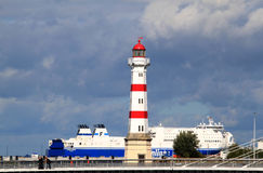Leuchtturm Inre Hamn auf Schwedisch Malmö Stockbild