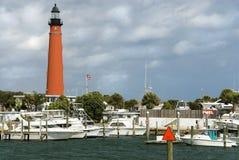 Leuchtturm-Jachthafen Stockfotografie