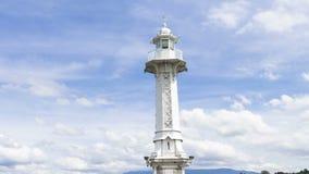 Leuchtturm 4k auf Gummilack Leman in Genf, die Schweiz stock footage