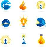 Leuchtturm, Lampen und Feuerikonen Lizenzfreie Stockfotos