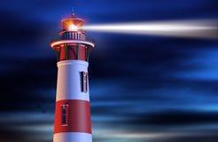 Leuchtturm-Lichtstrahl nachts stock abbildung