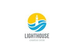 Leuchtturm-Logokreiszusammenfassungs-Designvektor Lizenzfreie Stockfotos