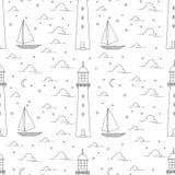 Leuchtturm, Meer, Segelboot, Mondscheinnachtillustration Lizenzfreies Stockbild