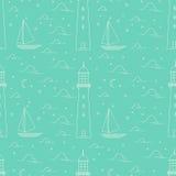 Leuchtturm, Meer, Segelboot, Mondscheinnachtillustration Lizenzfreie Stockfotografie