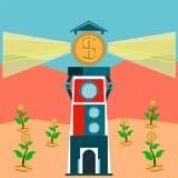 Leuchtturm mit Strahlen des Lichtes vom Dollar prägt lizenzfreie abbildung